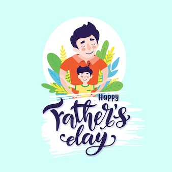 Happy father s day greeting card design. happy father smile with a son. vector illustration of dad and son hugs on blue background with hand drawn lettering.