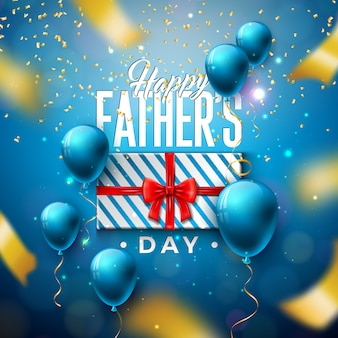 Happy father's day greeting card design with gift box and falling confetti