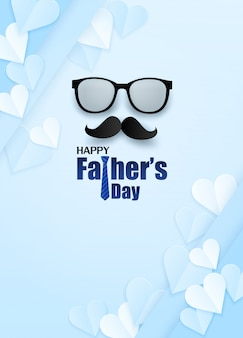 Happy father's day greeting card. design with heart, necktie and glasses