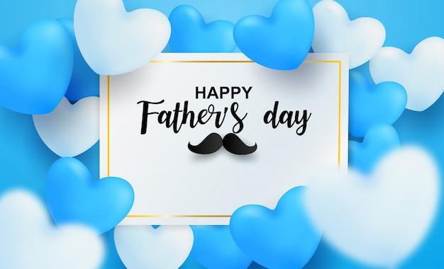 해피 아버지의 날 인사말 카드입니다. 파란색 배경에 마음으로 디자인. 빛과 그림자.