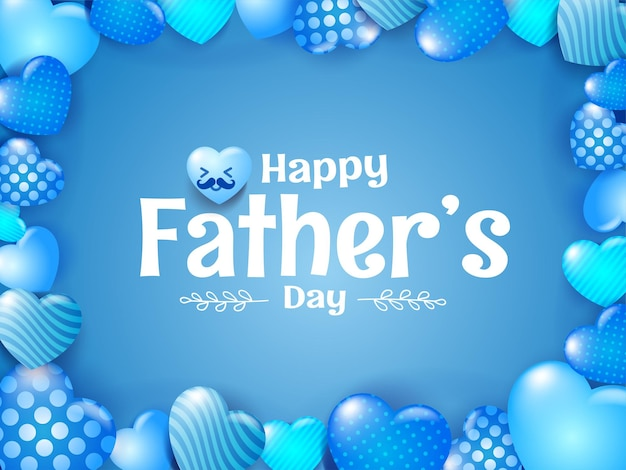 Happy father's day greeting card design with hearts