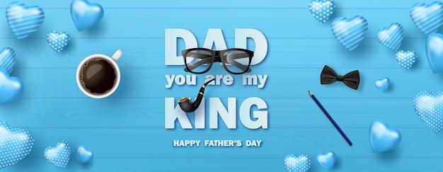 해피 아버지의 날 인사말 카드, 포스터 또는 아이콘 장식이 있는 배너.