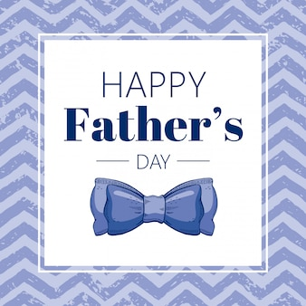 Happy father's day greeting card with blue butterfly tie. sketch doodle style.