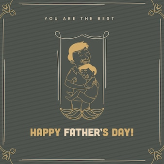 Happy father's day greeting card with line art man hugging his s