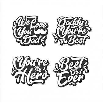 Happy father's day lettering collection