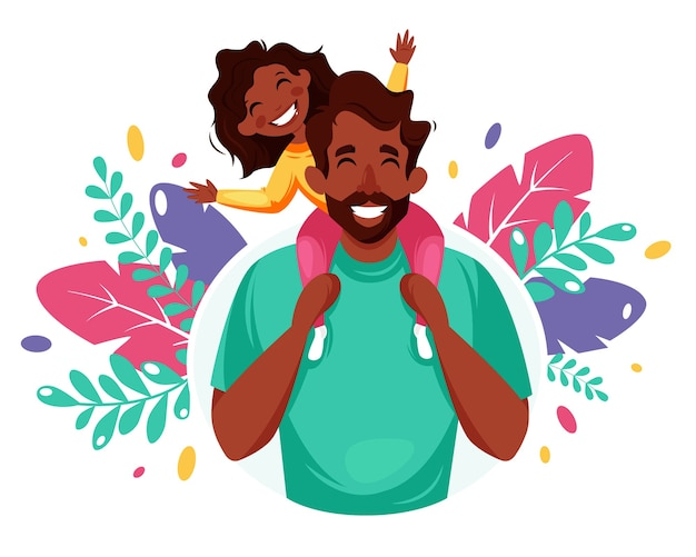 Happy father's day. man with daughter in his shoulders. father's day concept