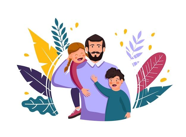 해피 아버지의 날. 그의 어깨에 아들과 함께 남자.