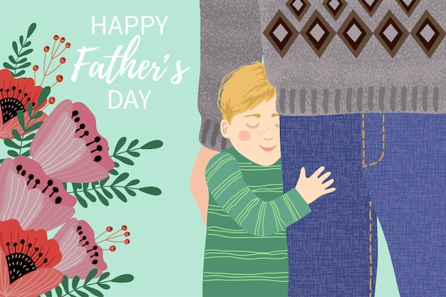 Happy father's day, my dad s the best. cute  family illustration .hand drawing of dad and the child clutching his legs