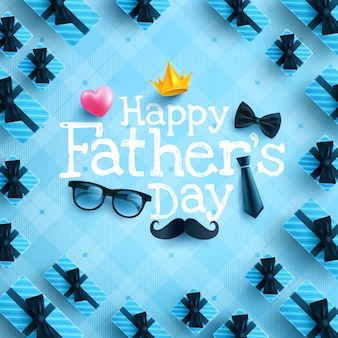 Happy father's day poster or banner template with necktie, glasses and heart on blue.