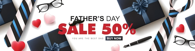 Happy father's day sale 50 off banner with gift for dad