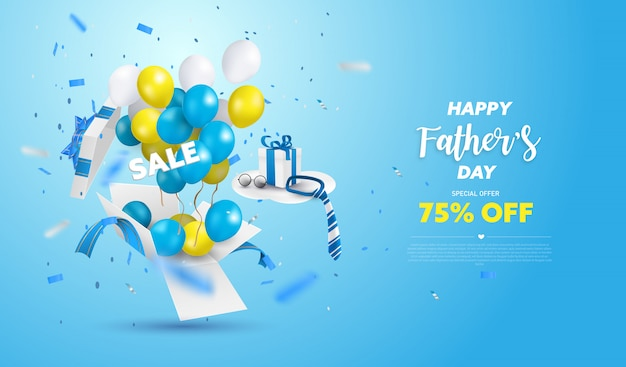 Happy father's day sale banner or promotion on blue background. surprise box open with yellow, white and blue ballon.