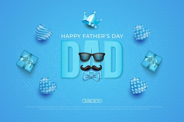 Happy father's day template with necktie, crown, glasses and heart on blue.