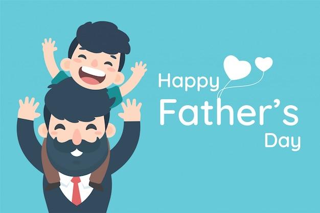 С днем отца. мальчик с удовольствием катается на шее отца, мультипликационного бизнесмена, несущего сына.