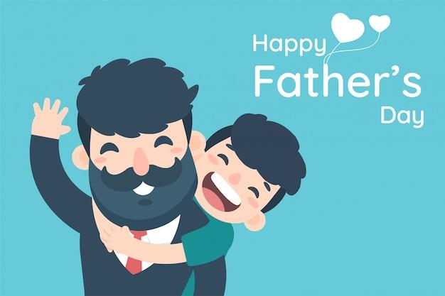 Счастливый день отца. мальчик очень рад показать любовь, обнимая его отца с работы.