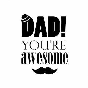 Happy Father's day typography with white background