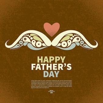 幸せな父の日ヴィンテージレトロカード。口ひげの抽象的なシルエット