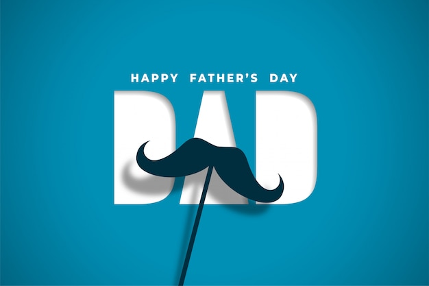 Happy father's day wishes card in papercut style design