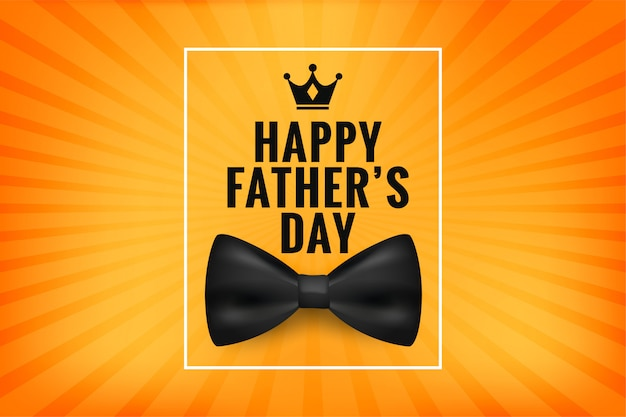 Happy father's day wishes card with realistic bow