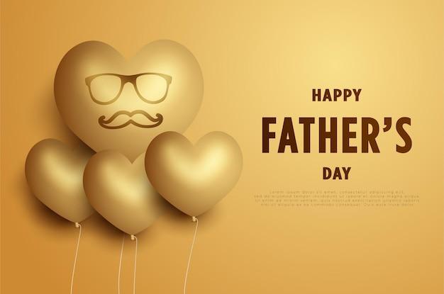 С днем отца с воздушным шаром в форме сердца, очками и усами.