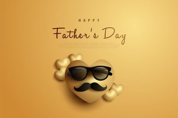 С днем отца с сердцем с усами и очками.