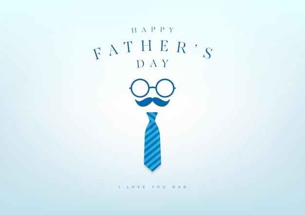 파란색 넥타이 배너와 선물 카드와 함께 해피 아버지의 날. 벡터 일러스트 레이 션.