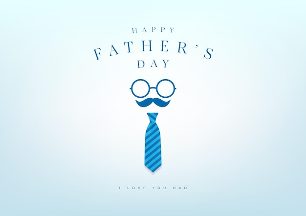 Happy father's day with blue necktie banner and gift card. vector illustration.