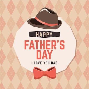 Happy father's day with bow tie and hat