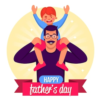Счастливый день отца с папой и ребенком