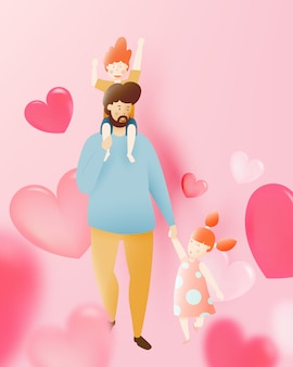 Happy father's day with father and son and daughter with pastel scheme and paper art vector illustration