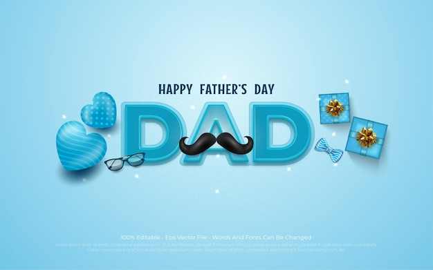 Happy father's day with glasses, mustache and blue balloon and gifts for dad in blue.