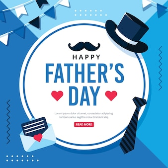 Happy father's day with hat and tie