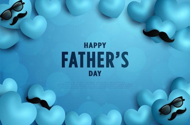 С днем отца с сердечками