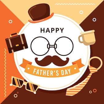 Happy father's day with mustache and glasses