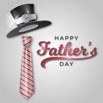 Happy father's day with with realistic hat and tie