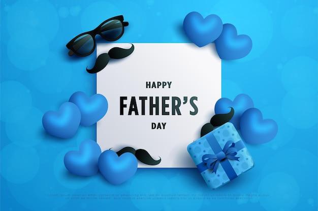 Счастливый день отца писать на белой бумаге, украшенной усами и очками.