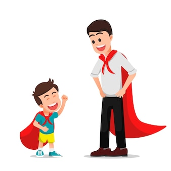 Happy father and son act like superheroes