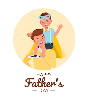 Happy father and son character vector design for father's day concept.