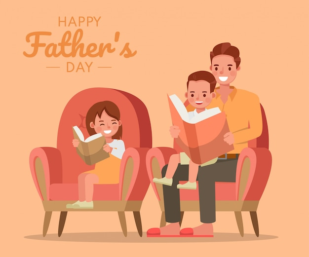 Happy father, son and daughter character vector design for father's day concept.