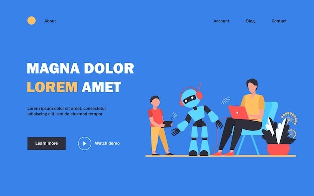 Happy father and son playing with robot landing page