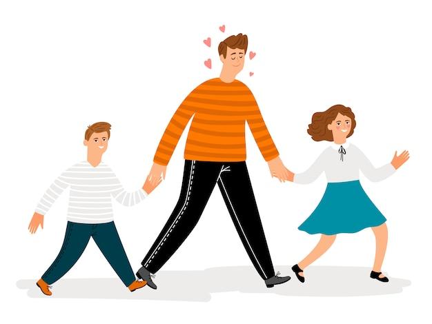 Счастливый отец с дочерью и сыном гуляют