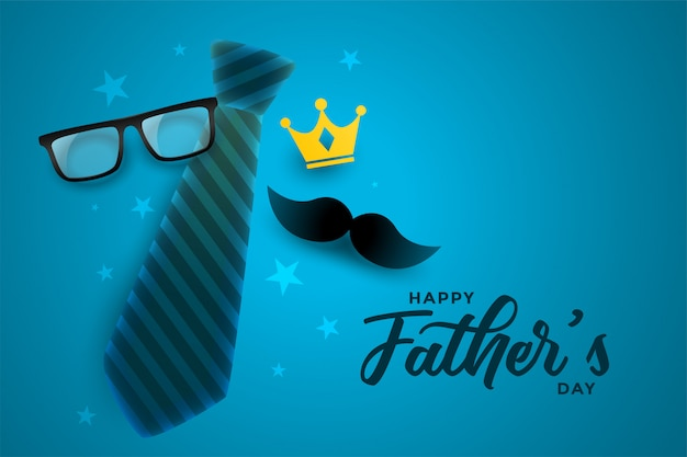 Счастливый день отцов привлекательный дизайн карты в синей теме