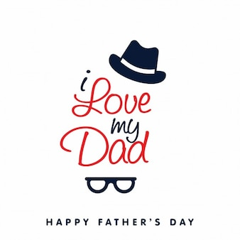 Happy fathers day background with hat and glasses