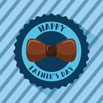 Happy fathers day badge brown bow striped blue background