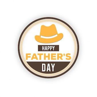 Felice giorno padri badge su sfondo bianco etichetta per celebrazione carta illustrazione vettoriale monocromatica