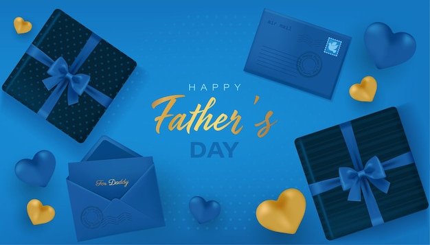 Happy fathers day banner with gift boxes and hearts