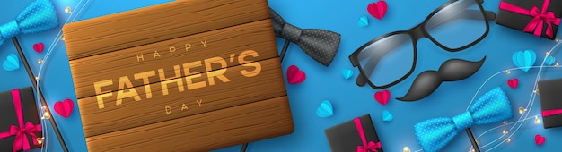 Happy fathers day banner with glasses, bow tie, mustache, gift box and hearts.