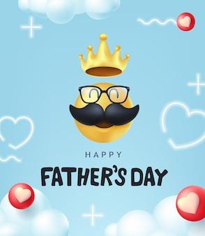 口ひげのスマイリーと幸せな父の日のバナー