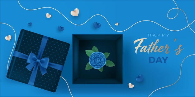 Happy fathers day banner with open gift boxes