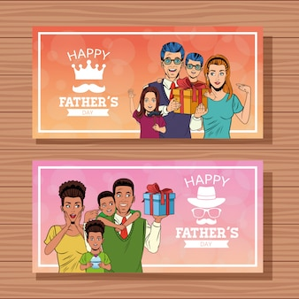Happy fathers day banners cards