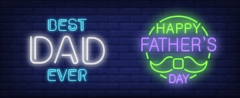Happy fathers day, best dad ever illustration in neon style.